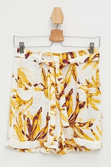 DeFacto Çiçekli Bermuda Şort Sarı